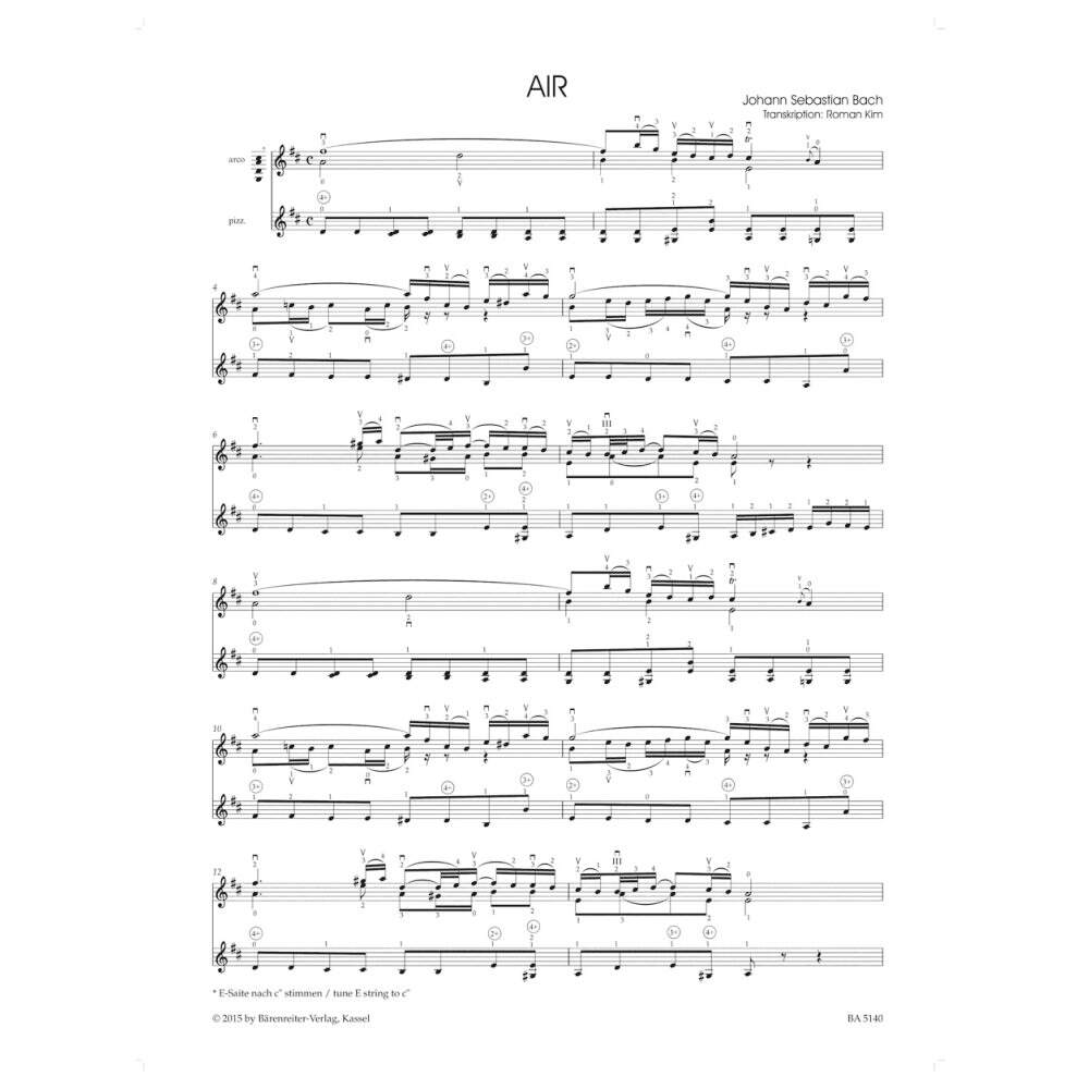 Bach, J S  - Air Arranged for violin solo from the orchestral suite BWV  1068 Barenreiter