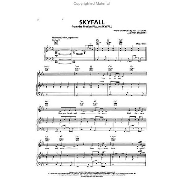 Piano/Vocal/Guitar Sheet